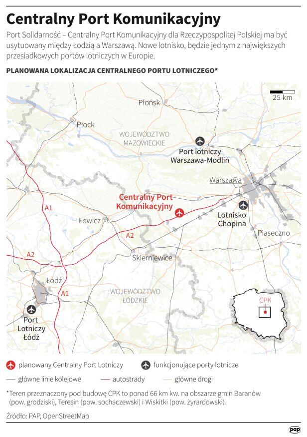 Planowana lokalizacja Centralnego Portu Lotniczego  PAP, OpenStreetMap