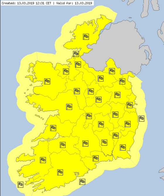 Aktualne ostrzeżenia meteorologiczne w Irlandii (za meteoalarm.eu)