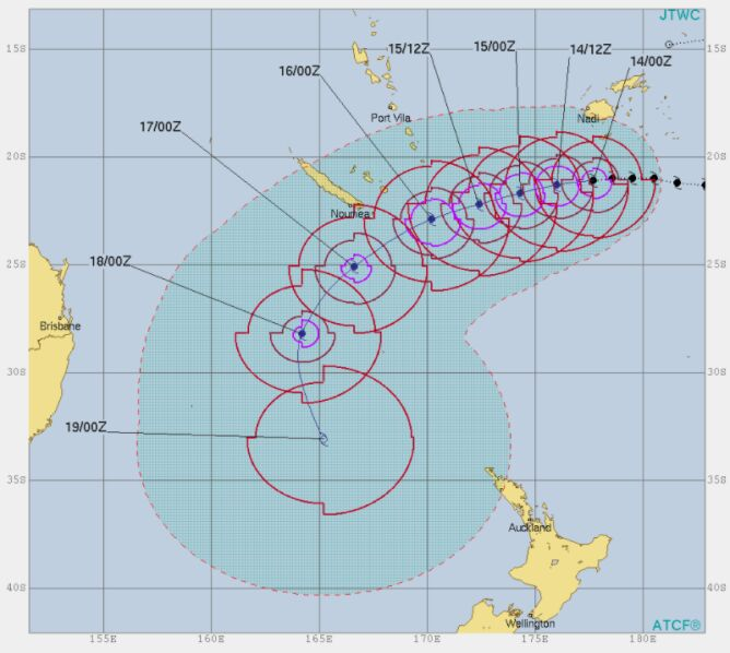 Prognoza trasy cyklonu Gita (JTWC)