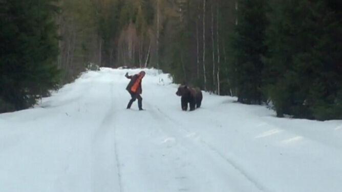 Człowiek kontra niedźwiedź. <br />Kto wygrał pojedynek?