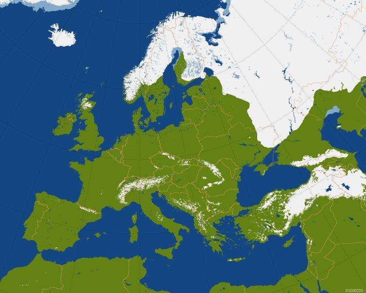 Zasięg pokrywy śnieżnej w Europie (CBK PAN)